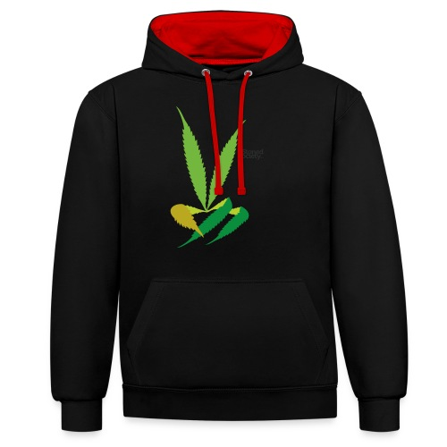 LeafHandDes3 png - Contrast hoodie