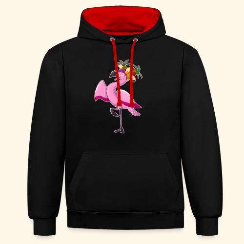 Flamingo - Kontrast-Hoodie