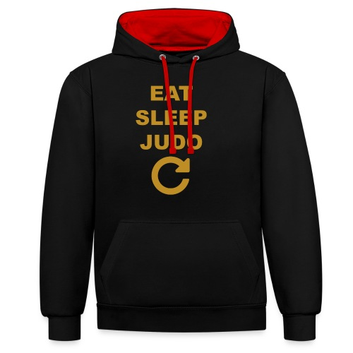 Eat sleep Judo repeat - Bluza z kapturem z kontrastowymi elementami