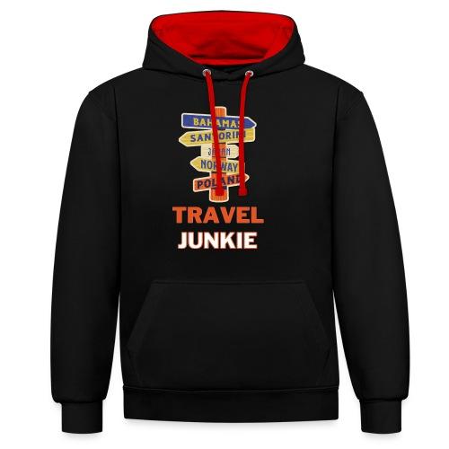 traveljunkie - i like to travel - Kontrast-Hoodie