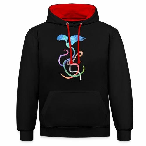 Graceful - Rainbow Bird in Ink - Contrast Colour Hoodie