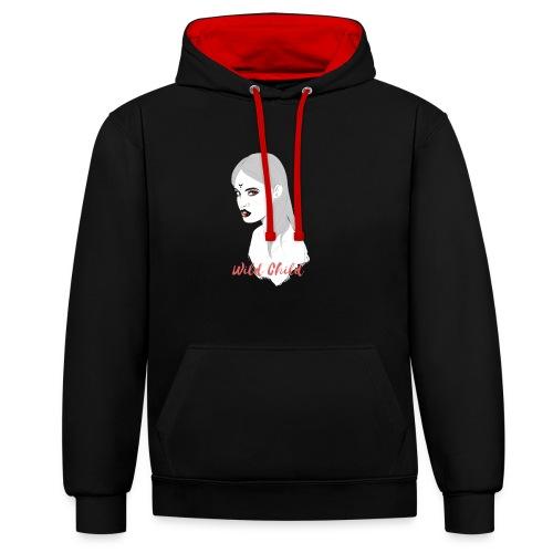 dark t shirt design female - Sudadera con capucha en contraste