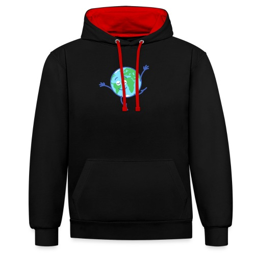 Cute planet Earth dancing graciously - Contrast Colour Hoodie