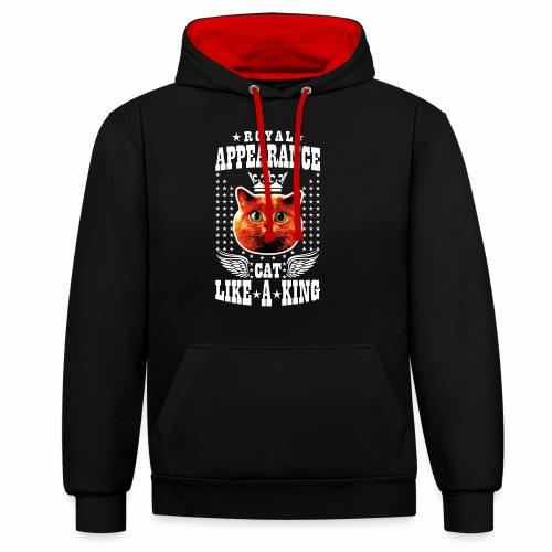 20 Royal Appearance Red Cat like a King Crown - Kontrast-Hoodie