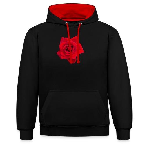 Red Roses - Bluza z kapturem z kontrastowymi elementami