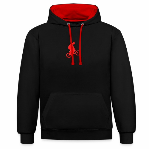 Red BMX Rider - Contrast Colour Hoodie