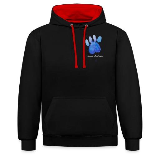 Tierfreund Choose Kindness Hundepfote Wasserfarben - Kontrast-Hoodie