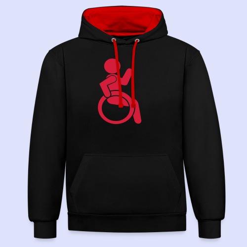 Zwaaiende rolstoel gebruiker 001 - Contrast hoodie
