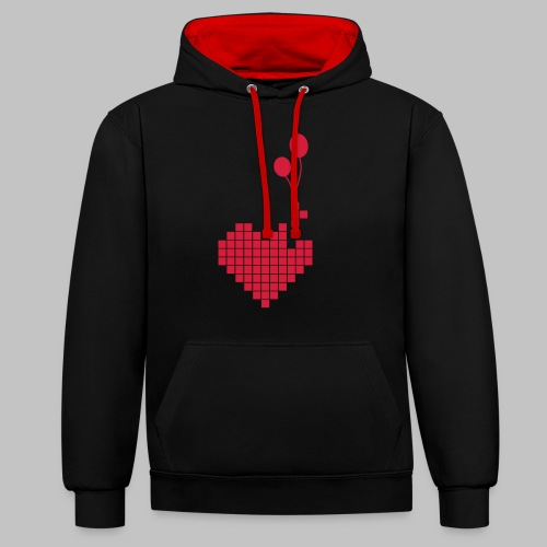 heart and balloons - Contrast Colour Hoodie