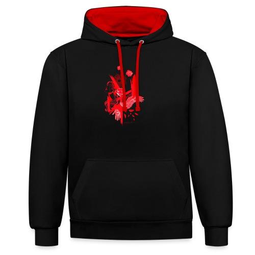 red fenix - Felpa con cappuccio bicromatica