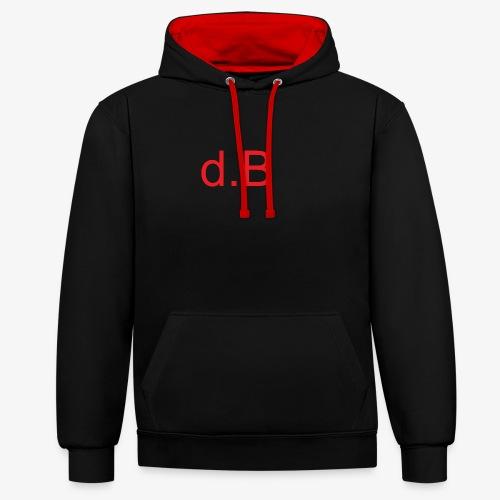 d.B RED - Felpa con cappuccio bicromatica
