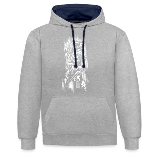 Samurai / White - Abstract Tatoo - Contrast Colour Hoodie