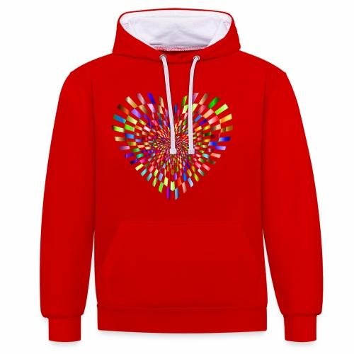 illusion heart colour - Contrast Colour Hoodie