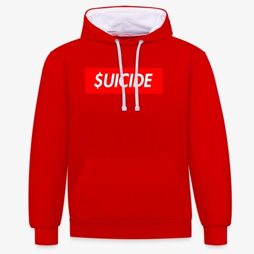 SUICIDE - Bluza z kapturem z kontrastowymi elementami