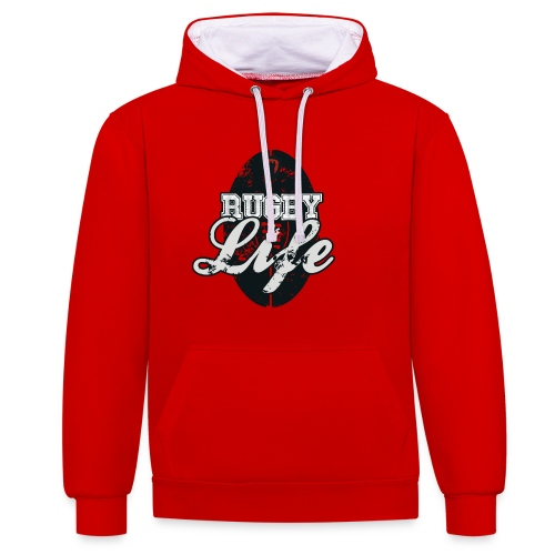 Rugby is Life - Contrast Colour Hoodie