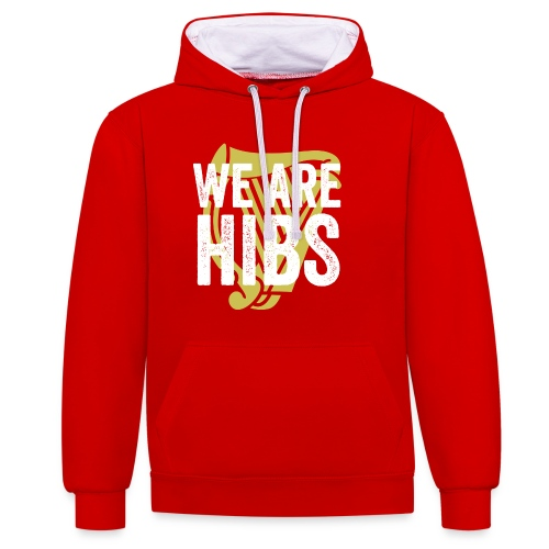 WEAREHIBS WhiteWithGoldHarp - Contrast Colour Hoodie