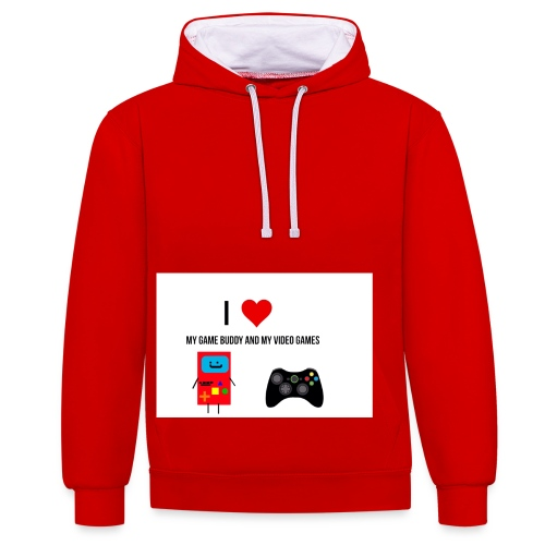 i love my game buddy and my video games - Contrast Colour Hoodie