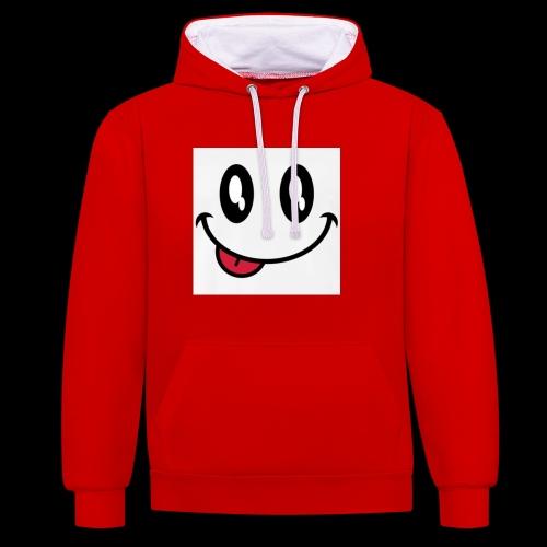 augen-smiley-zunge-t-shirts-maenner-premium-t-shir - Kontrast-Hoodie