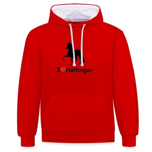 I Love Haflinger - Kontrast-Hoodie