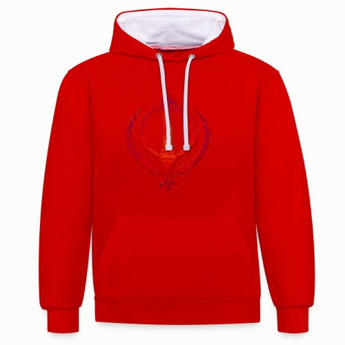 T-shirt sikh khanda encompassing world religions - Contrast Colour Hoodie