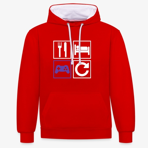 Eat, Sleep, Game, Repeat - Contrast Colour Hoodie