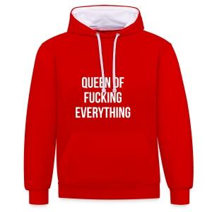 Queen of f***** everything - Kontrast-Hoodie