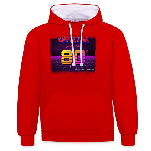 Official product of the 80's clothing - Contrast Colour Hoodie