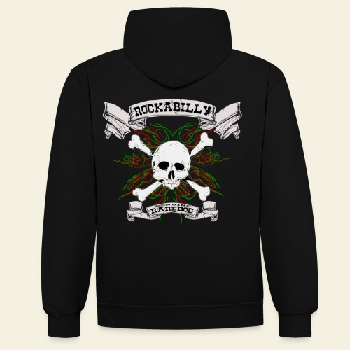 Rockabilly Raredog Skull - Kontrast-hættetrøje