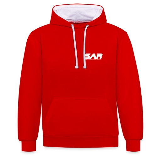 sar logo white ontransparent - Contrast Colour Hoodie