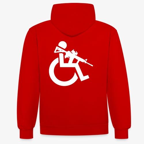 Gewapende rolstoel gebruiker met geweer, wapen - Contrast hoodie