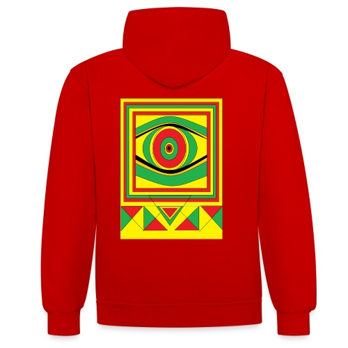 ALL seeing eye RASTA burn down babylon Original - Contrast hoodie