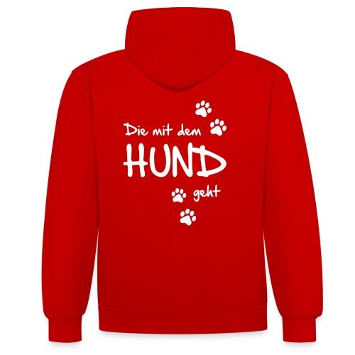 Vorschau: Die mit dem Hund geht - Kontrast-Hoodie