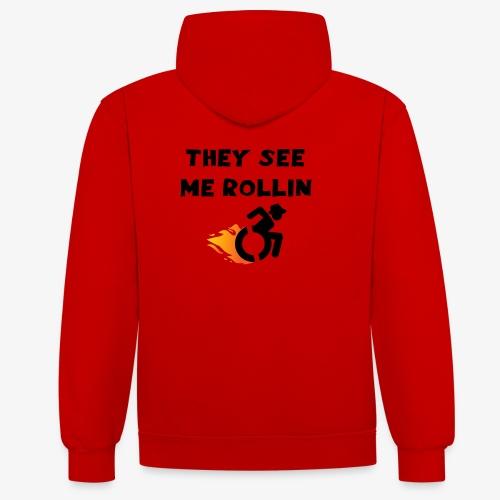 > Ze zien me rollen in mijn rolstoel, roller 003 - Contrast hoodie