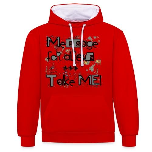 message for aliens PNG grijs - Contrast hoodie