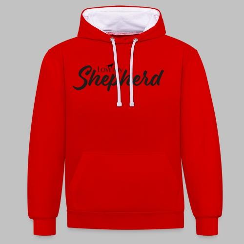 LOVE MY SHEPHERD - Black Edition - Dog Lover - Kontrast-Hoodie