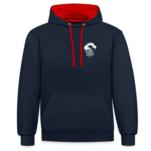 Sea of red logo - white small - Contrast Colour Hoodie