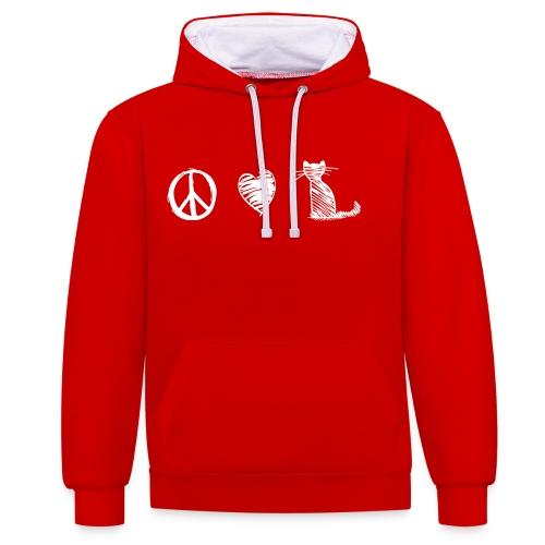 Vorschau: peace love cats - Kontrast-Hoodie