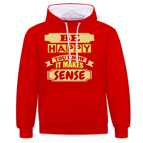Be Happy - Contrast Colour Hoodie