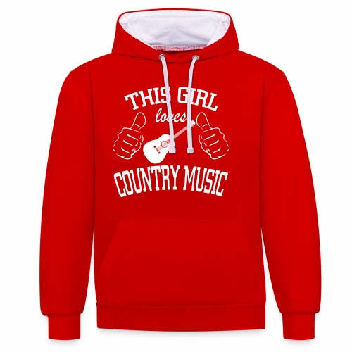 This Girl Loves Country Music - Contrast Colour Hoodie