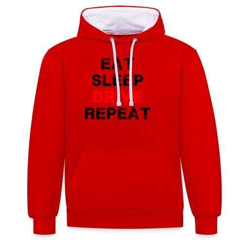 EAT SLEEP DRIVE REPEAT - Kontrast-Hoodie