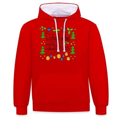 Weihnachtsglitzern - Kontrast-Hoodie