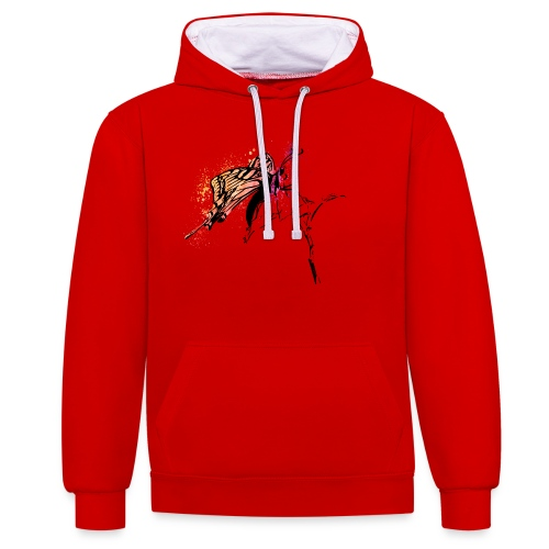 Schmetterling in Aquarelloptik - Kontrast-Hoodie