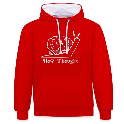 SlowThought (weiß) - Kontrast-Hoodie
