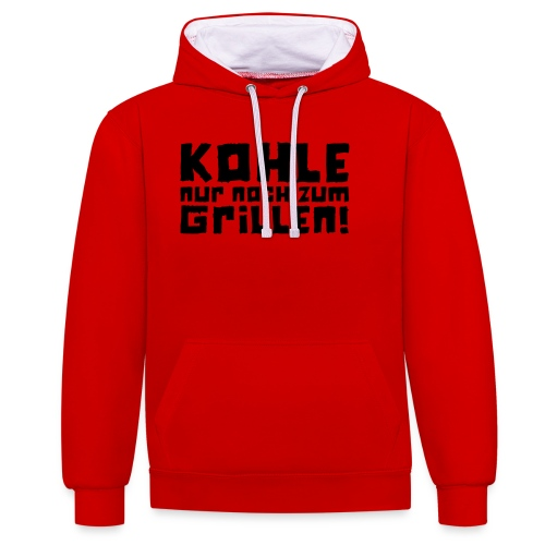 Kohle nur noch zum Grillen - Logo - Kontrast-Hoodie