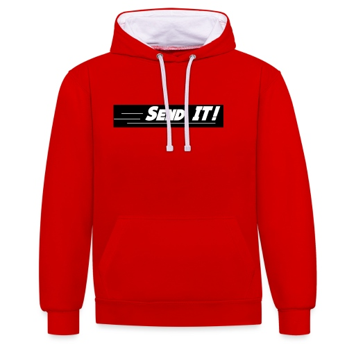 send it logo black and white - Contrast Colour Hoodie