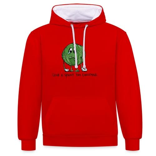 Christmas Sprout funny vegetable jumper - Felpa con cappuccio bicromatica