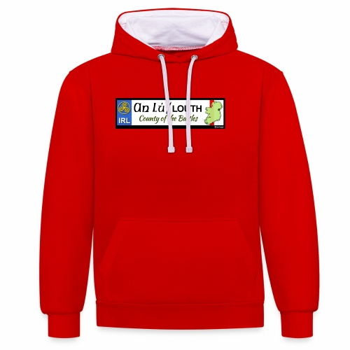 CO. LOUTH, IRELAND: licence plate tag style decal - Contrast Colour Hoodie