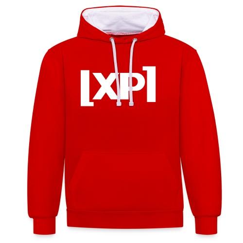 Klammelogo XP (hvid) - Kontrast-hættetrøje