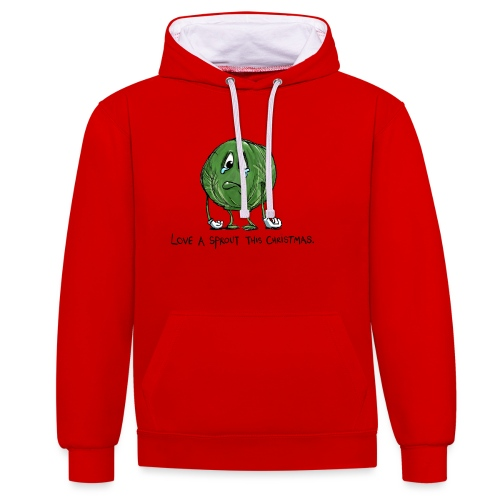 Christmas Sprout funny vegetable jumper - Felpa con cappuccio bicromatica