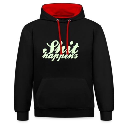 Shit Happens and Politics - Contrast Colour Hoodie